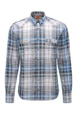 Camicia slim fit in twill di cotone jacquard, Blue Scuro