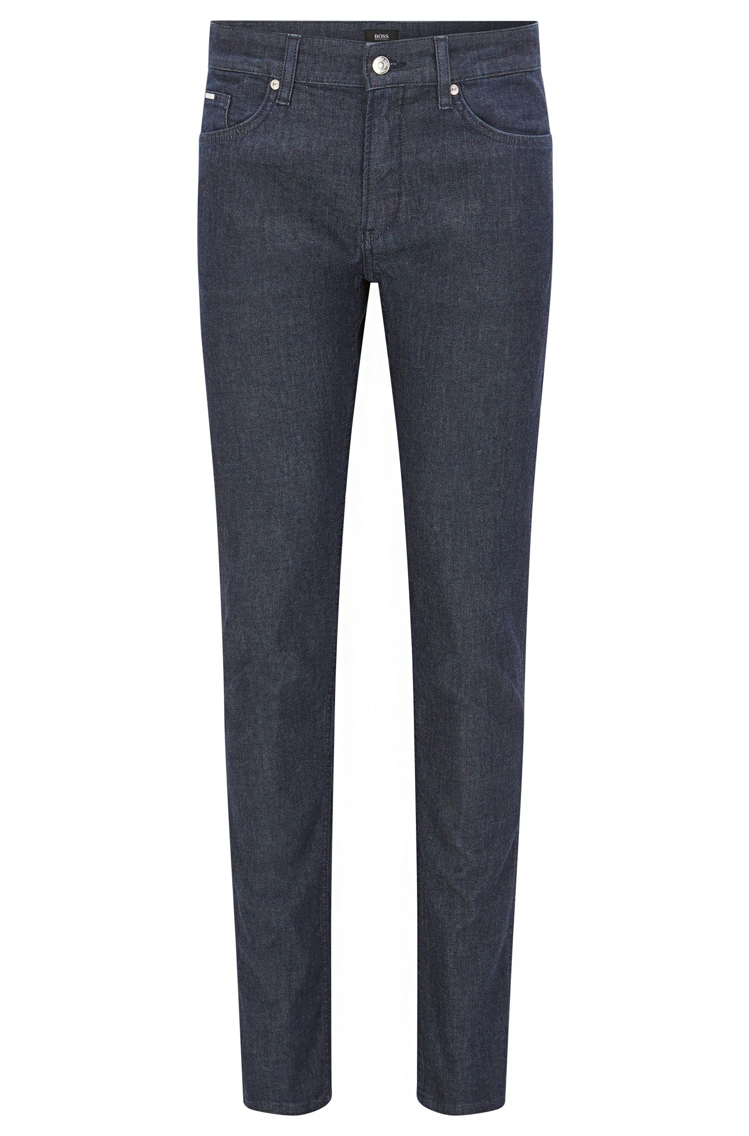 Slim-fit dark blue jeans in stretch denim