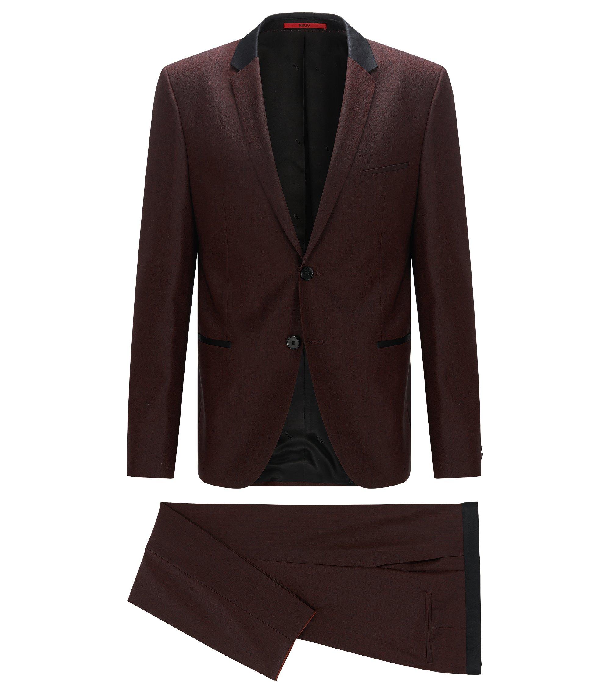 Slim-Fit Anzug aus Schurwolle mit kontrastfarbenen Seiden-Details, Dunkelrot