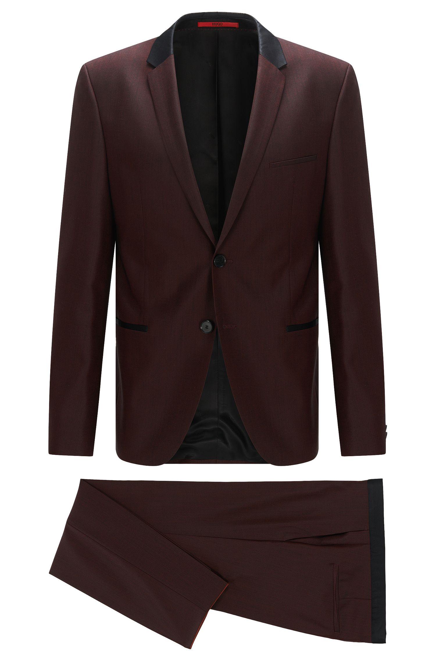 Slim-fit kostuum van wol met contrastaccenten van zijde
