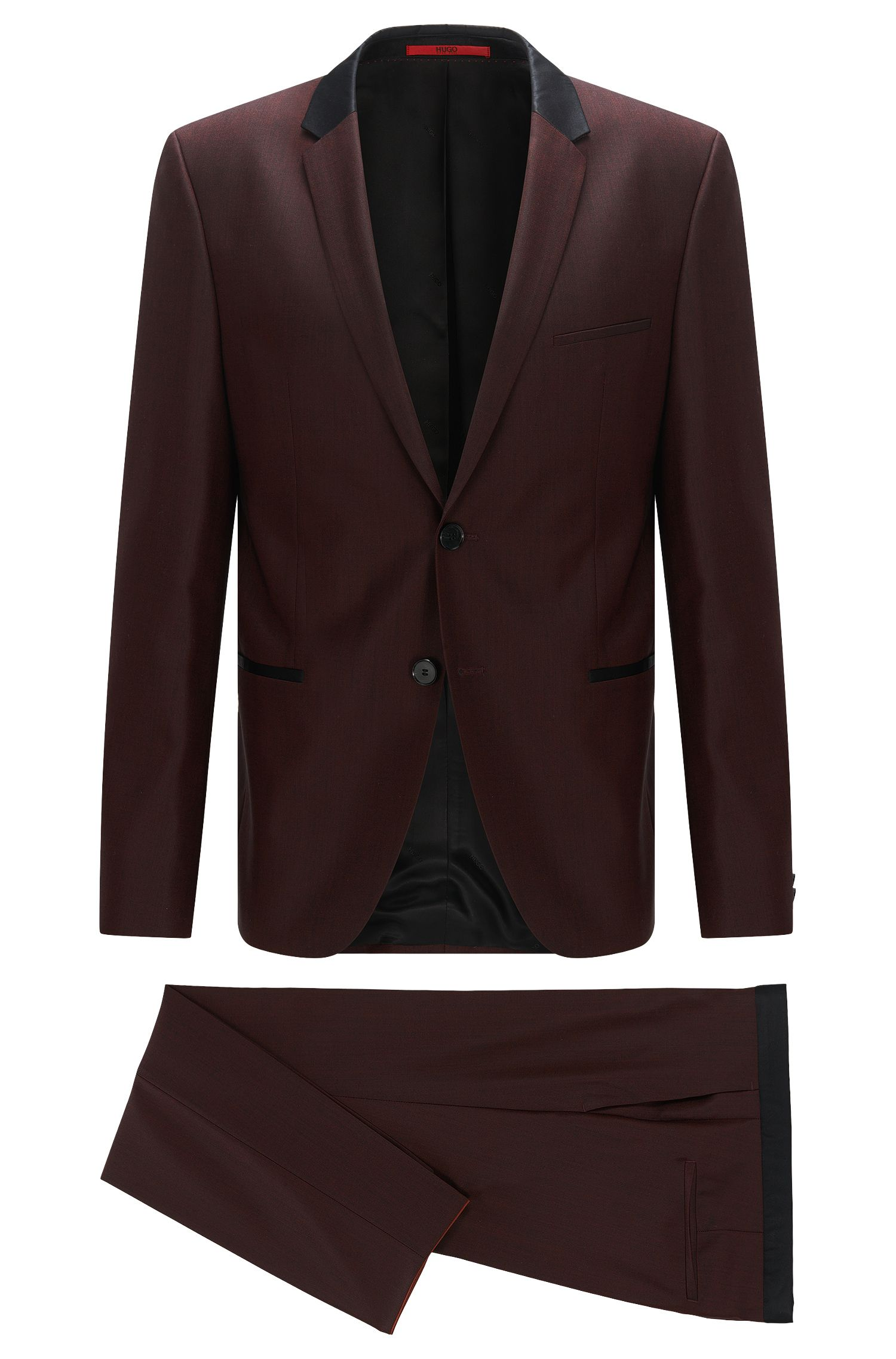 Slim-fit suit in wool with contrast silk accents