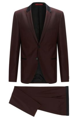 Slim-fit suit in wool with contrast silk accents, Dark Red