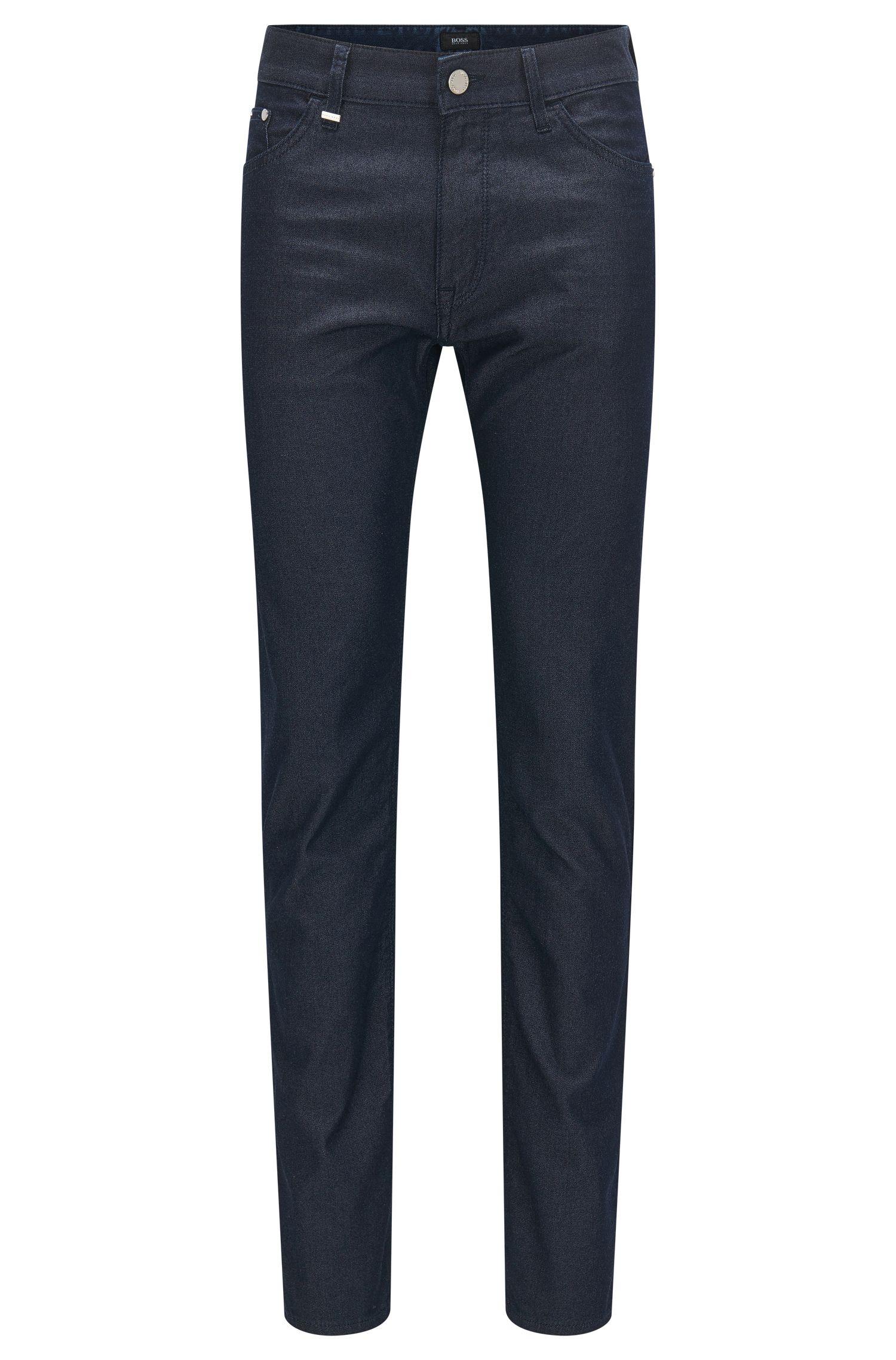 Regular-fit jeans van stretchdenim met zijde
