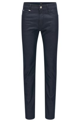 Regular-fit stretch denim jeans blended with silk, Dark Blue