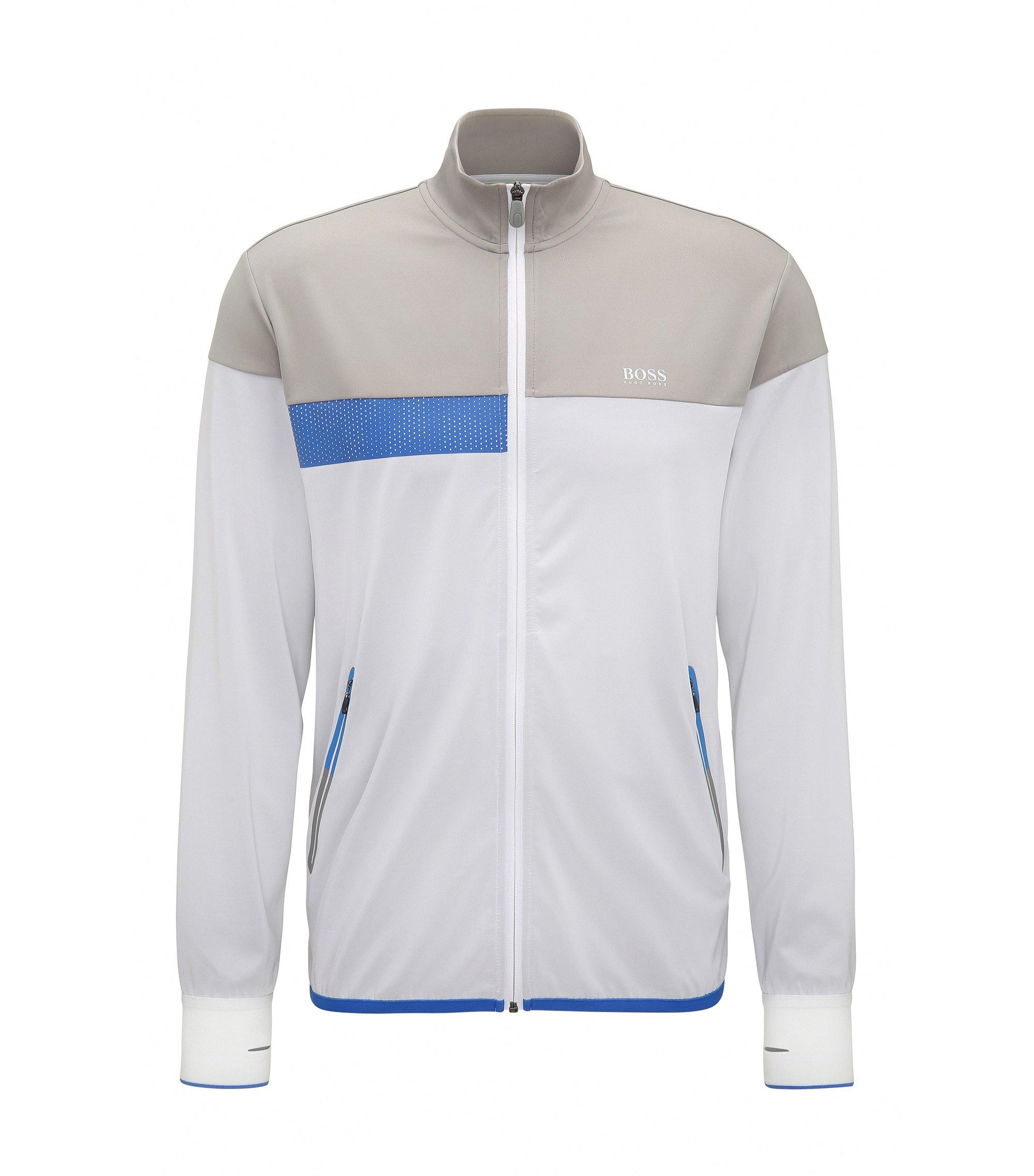 Slim-fit sweater van technisch materiaal, Wit
