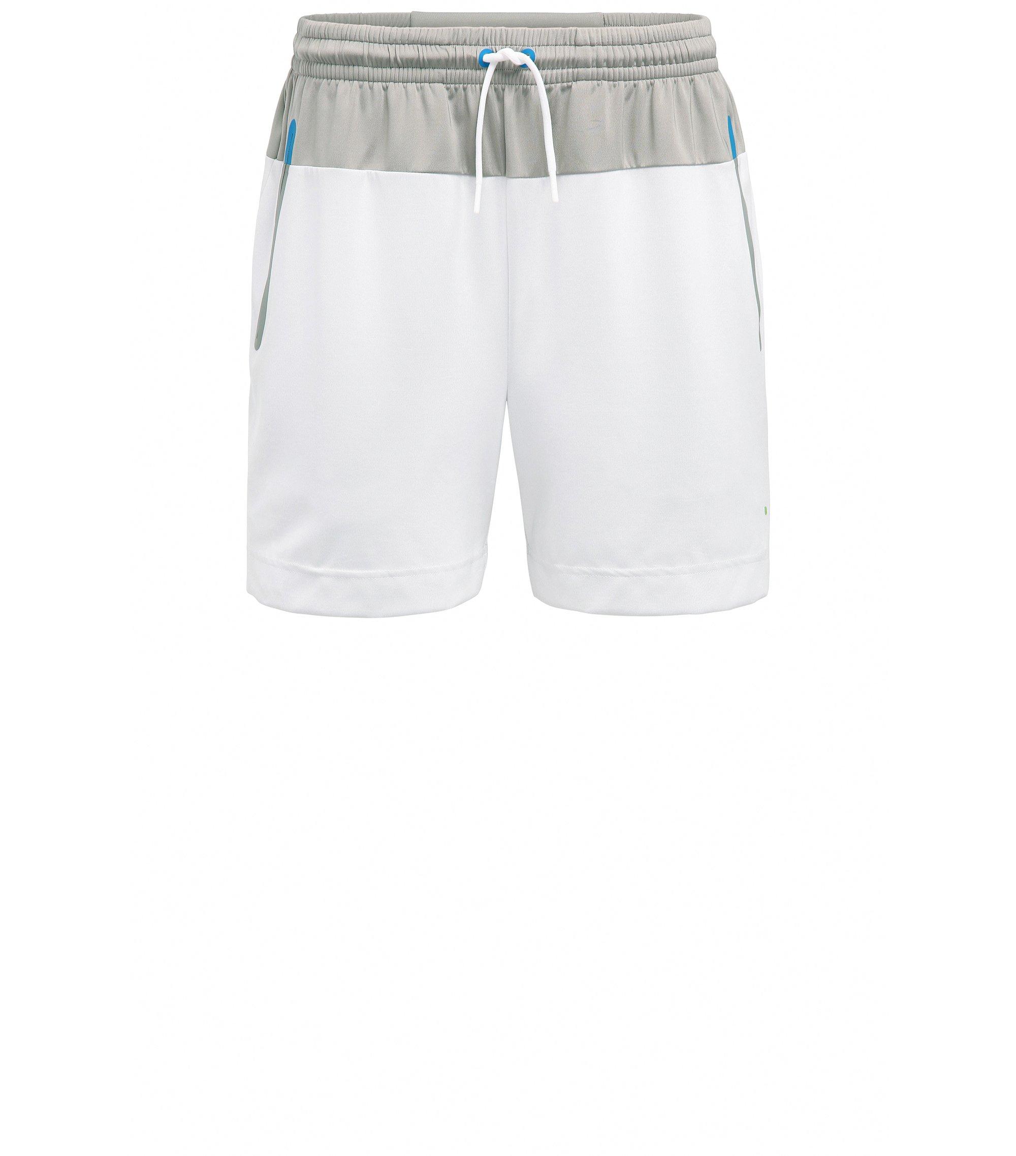 Shorts slim fit con elástico técnico, Blanco