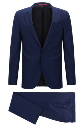Extra-slim-fit suit in virgin wool, Open Blue