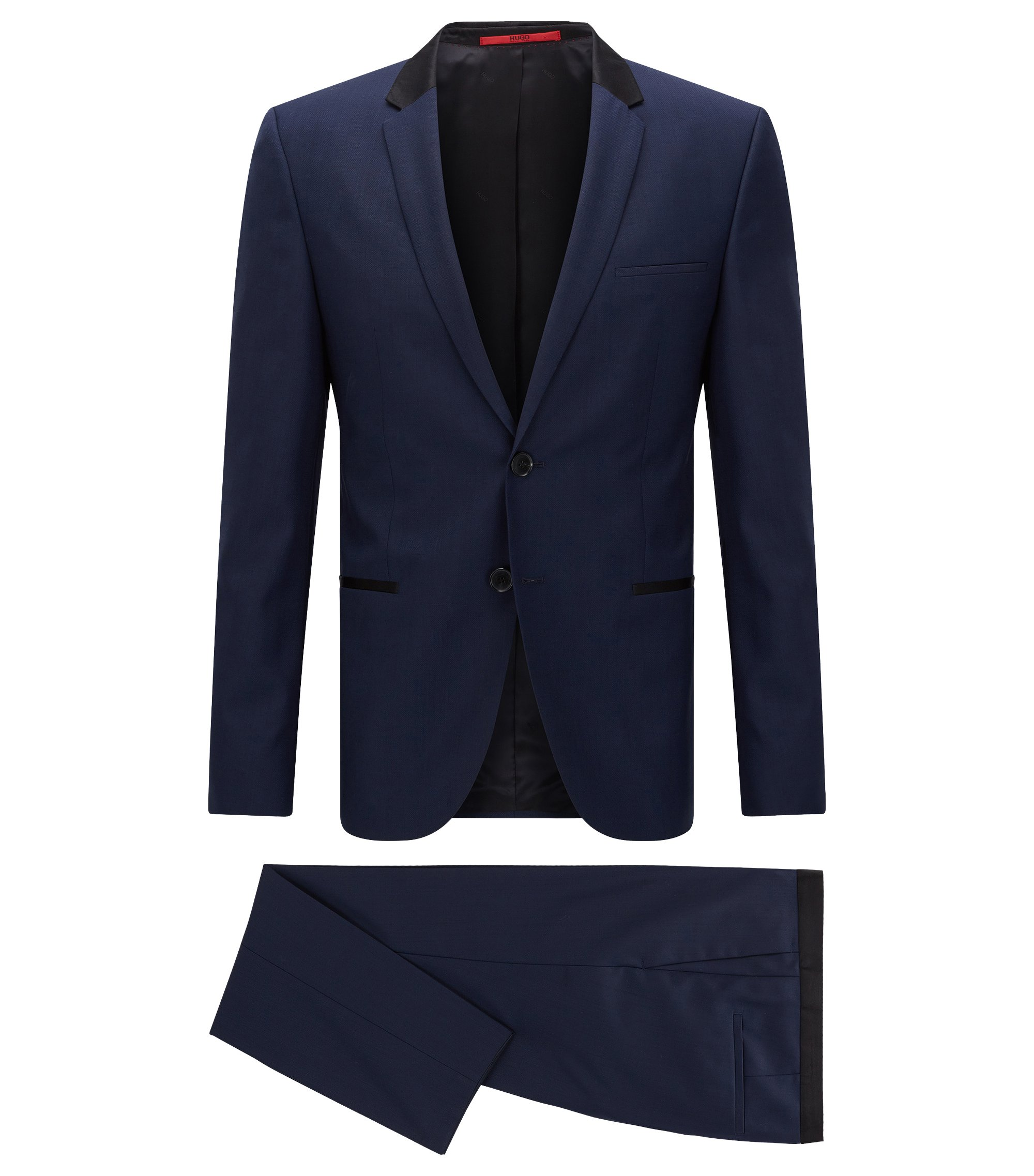 Slim-fit kostuum in een exclusieve wollen twill , Donkerblauw