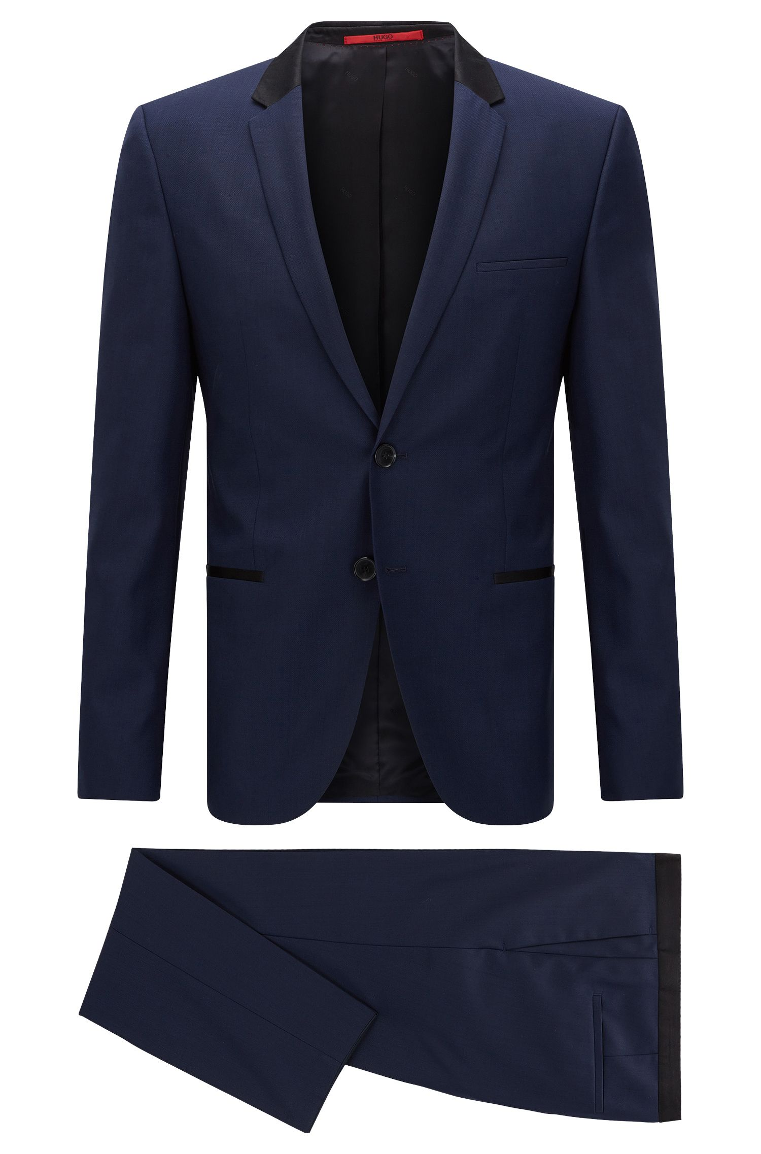 Slim-fit suit in exclusive wool twill