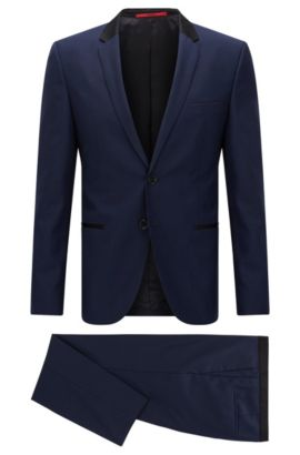 Slim-fit suit in exclusive wool twill , Dark Blue