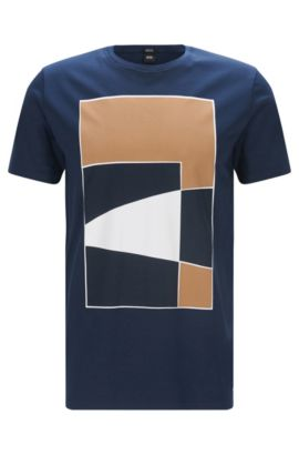 Regular-fit mercerised cotton T-shirt with geometric print, Dark Blue