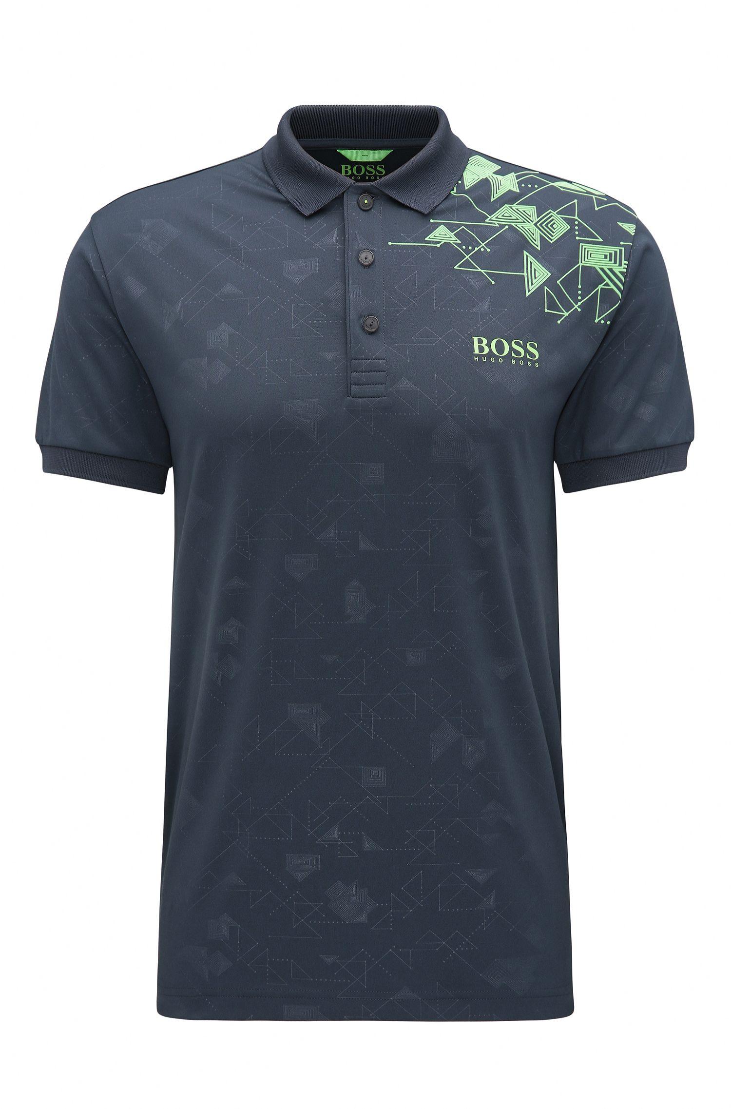 Slim-fit printed piqué polo shirt with S.Café®