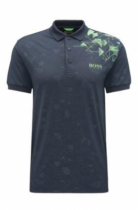 Bedrucktes Slim-Fit Poloshirt aus Material-Mix, Dunkelblau