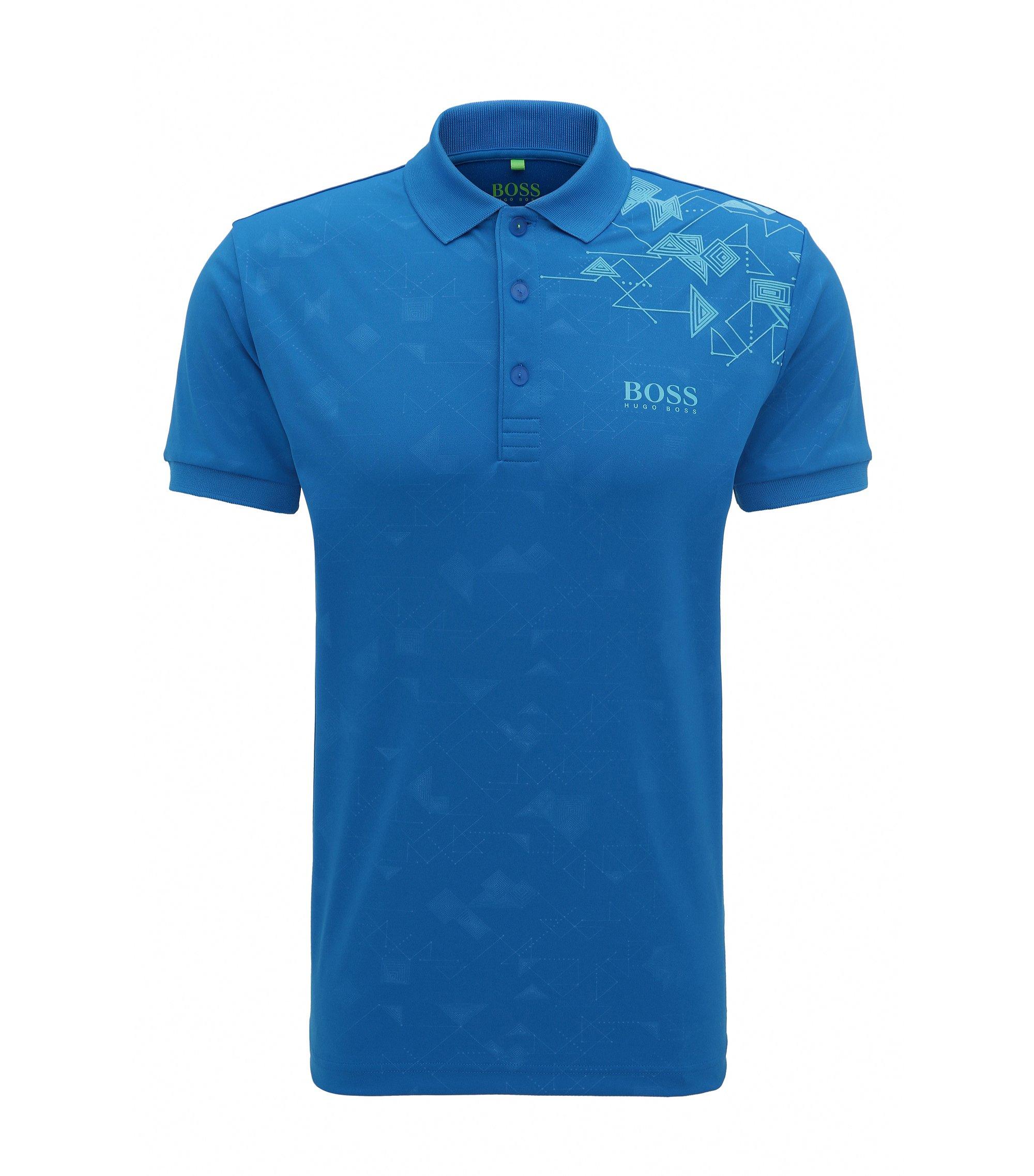 Polo Slim Fit en maille piquée imprimée, avec des fibres S.Café®, Bleu