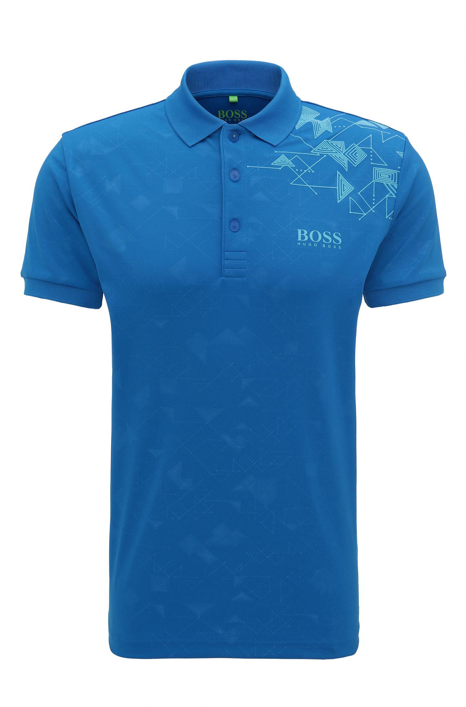 Bedrucktes Slim-Fit Poloshirt aus Material-Mix