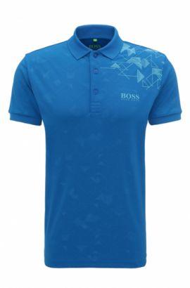Polo Slim Fit en maille piquée imprimée, avec des fibres S.Café®, Bleu vif