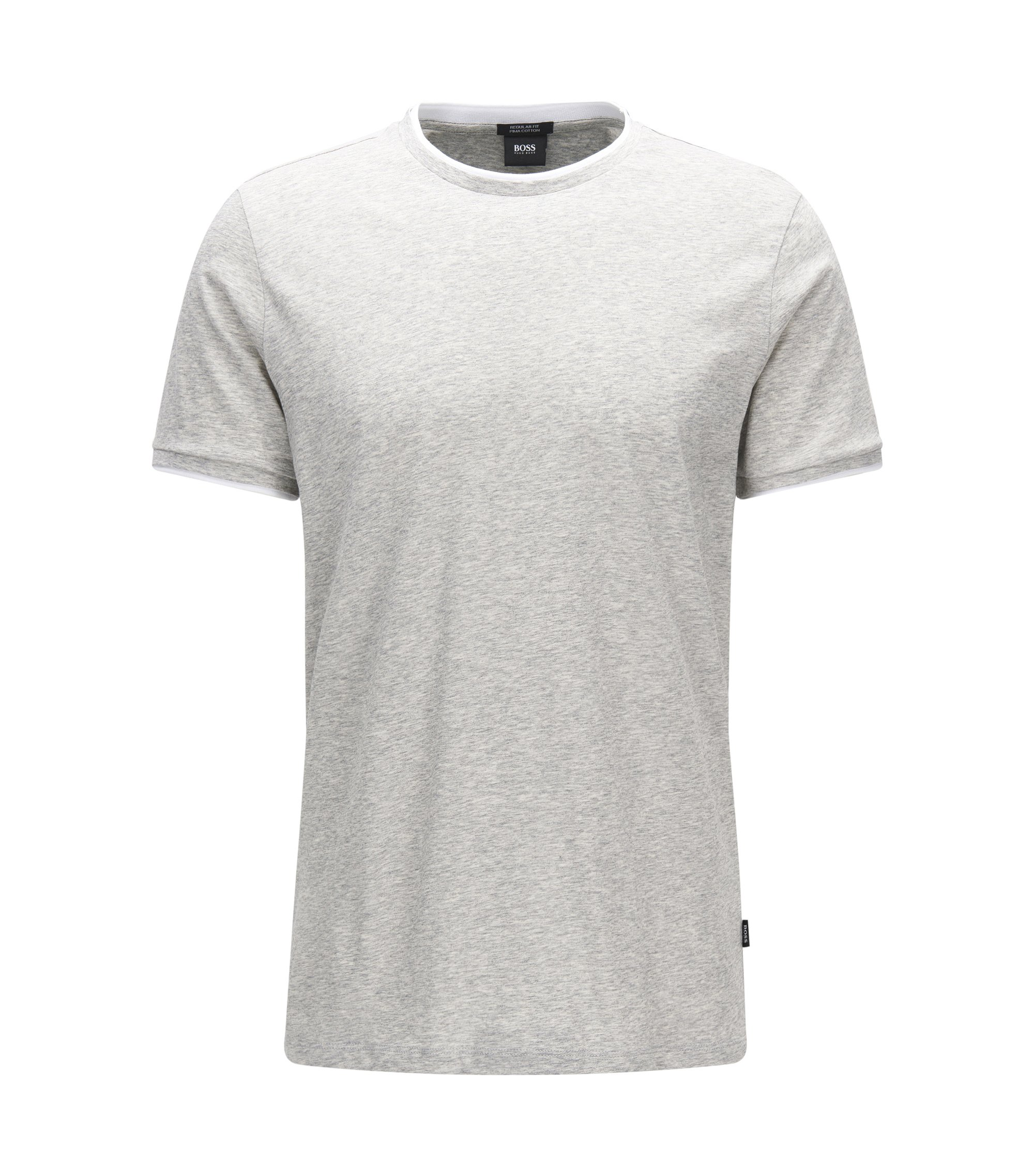 T-shirt Regular Fit en coton pima à effet de superposition, Gris chiné