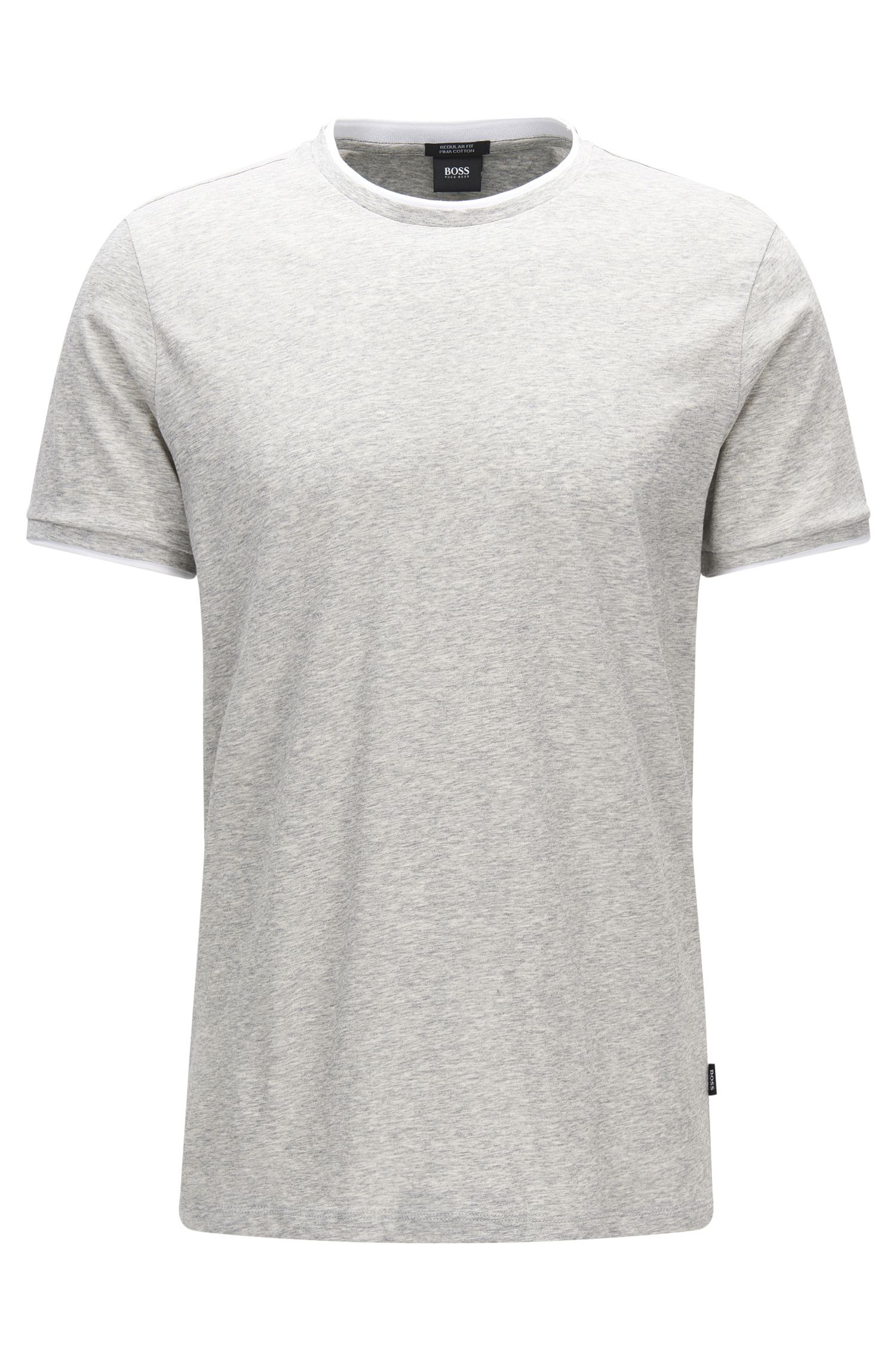 Regular-fit T-shirt van pimakatoen met gelaagd effect