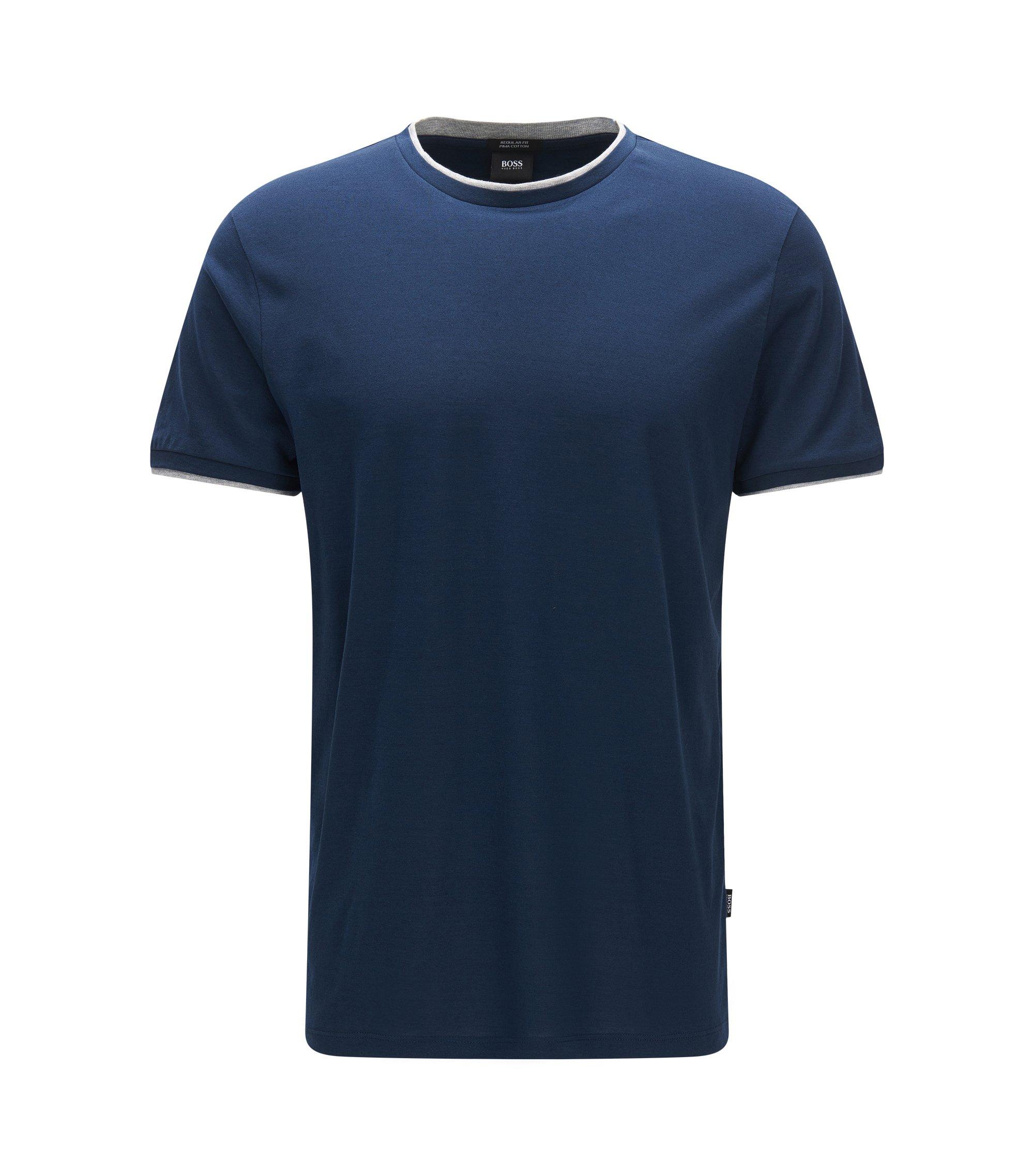 T-shirt Regular Fit en coton pima à effet de superposition, Bleu foncé