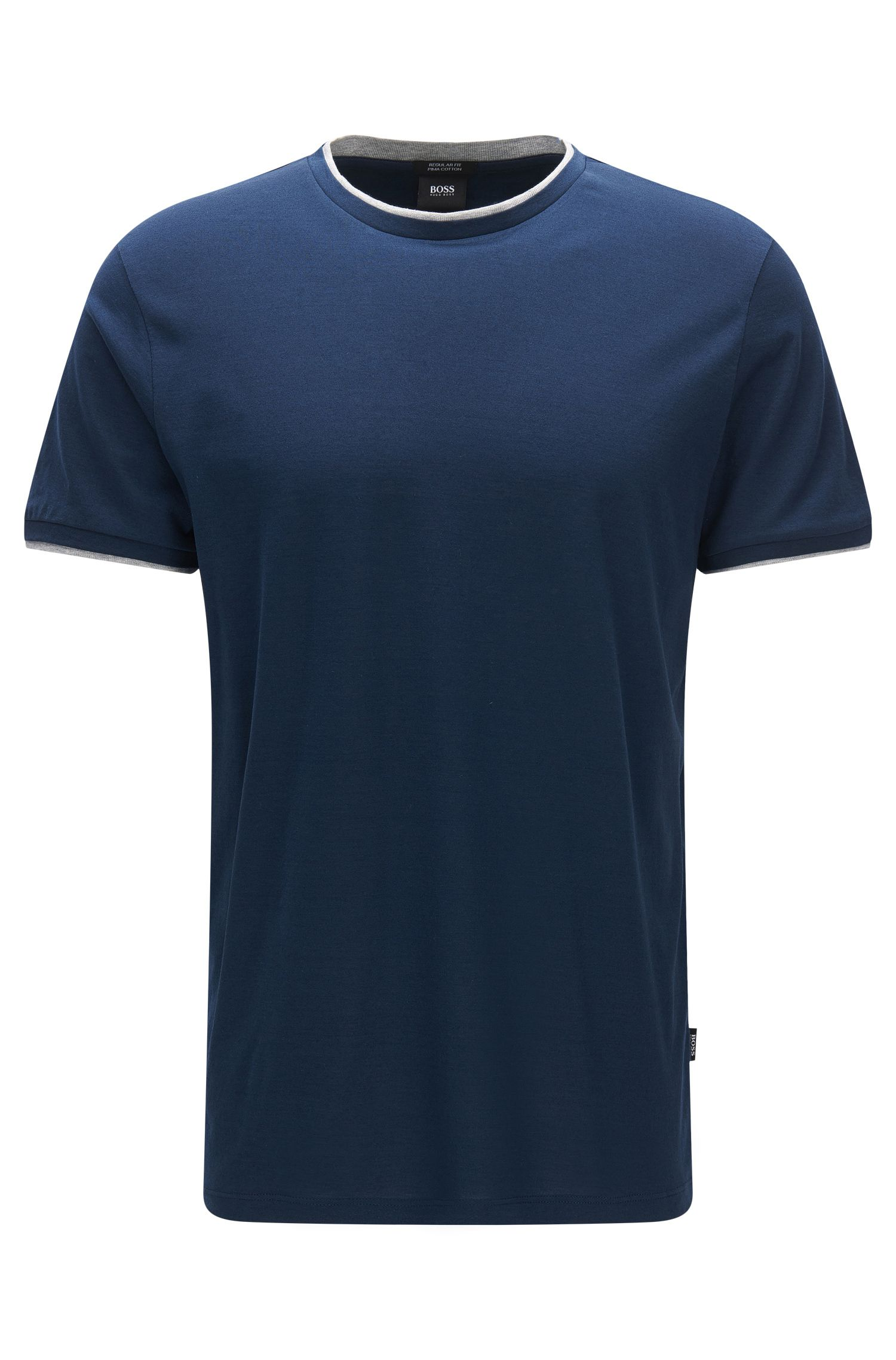 Regular-fit pima cotton T-shirt with layered effect