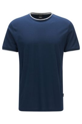 Regular-fit pima cotton T-shirt with layered effect, Dark Blue