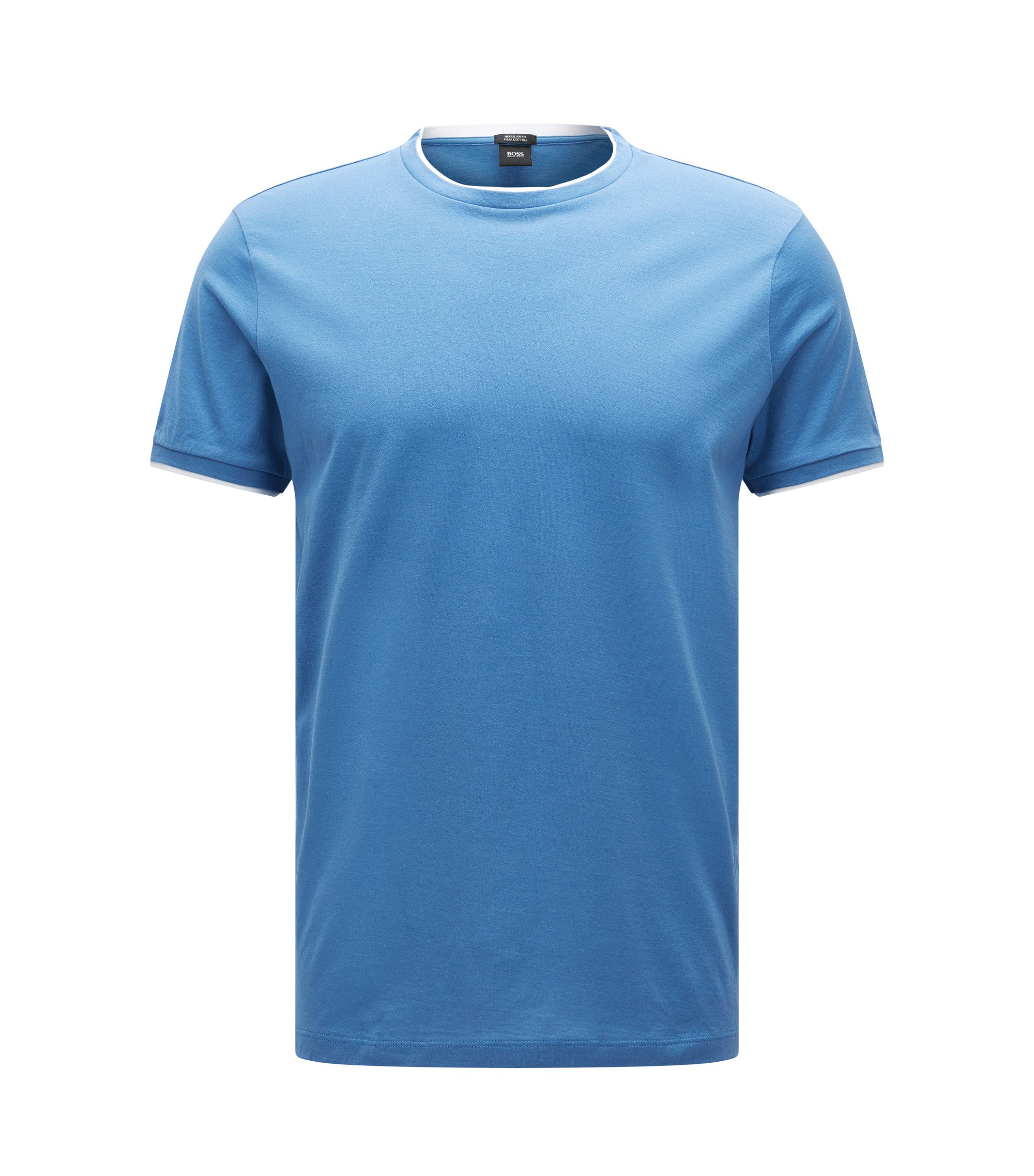 Regular-fit pima cotton T-shirt with layered effect, Blue