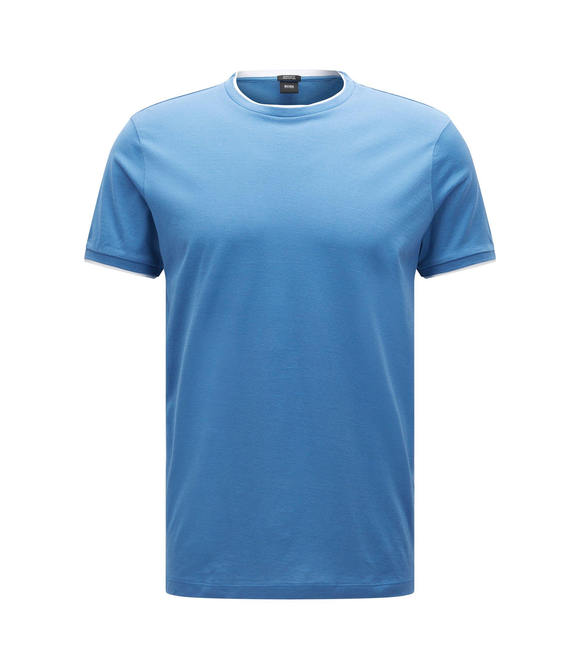 Relaxed-Fit T-Shirt aus Pima-Baumwolle im Lagen-Look, Blau