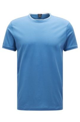 T-shirt regular fit in cotone Pima con effetto a strati, Blu