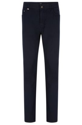 Jeans Relaxed fit en coton et lin mélangés, Bleu foncé