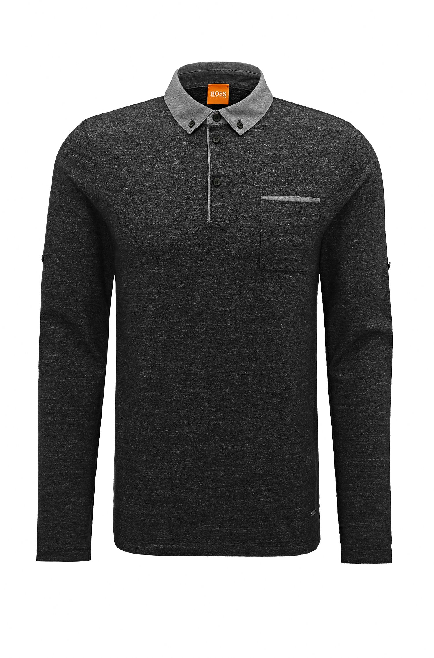 Regular-fit cotton polo with adjustable sleeves