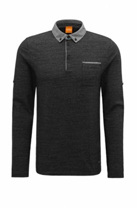 Polo in cotone regular fit con maniche regolabili, Nero