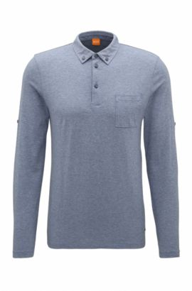 Polo regular fit de algodón con mangas ajustables, Azul oscuro