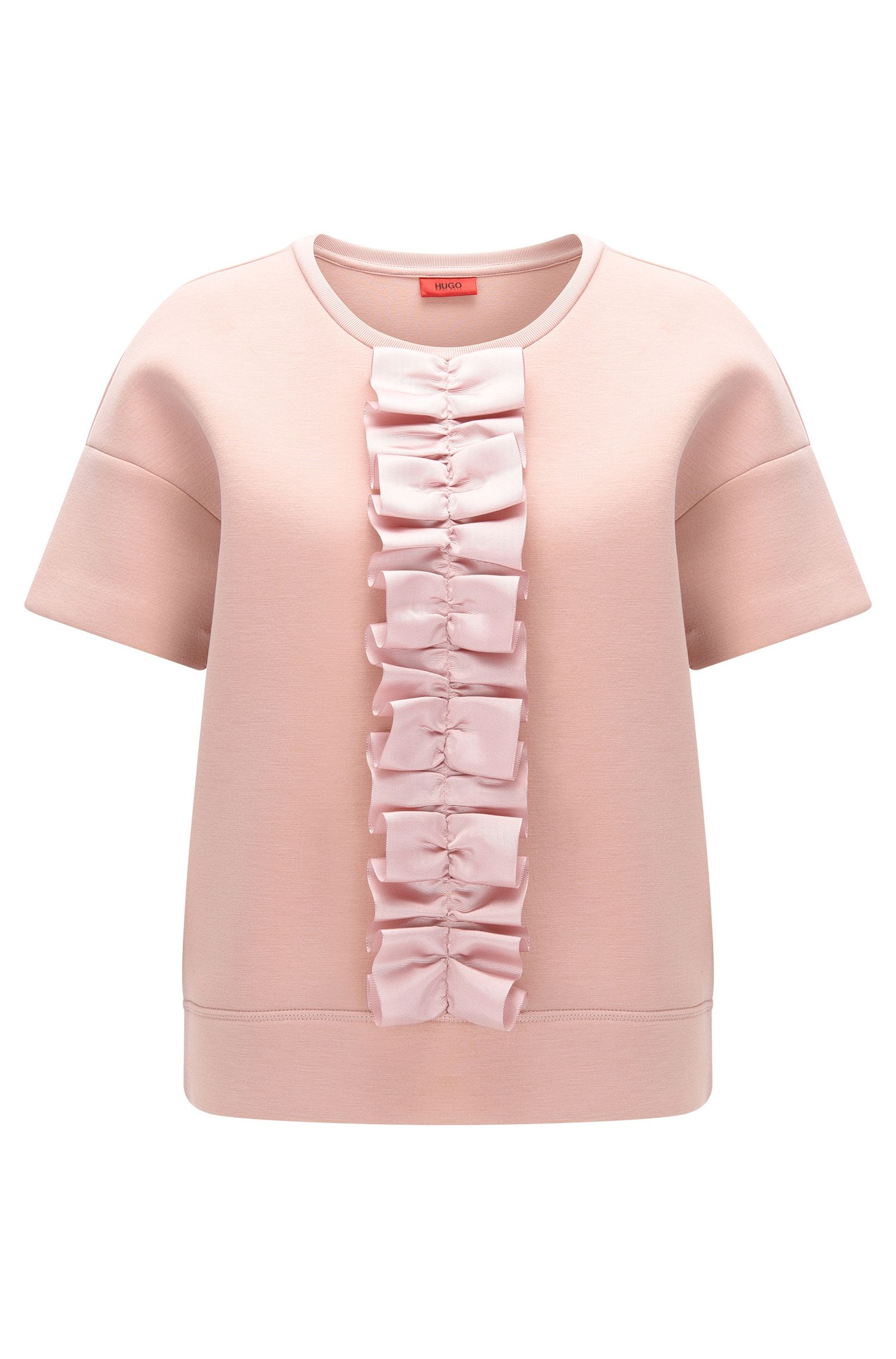 Oversize-fit T-shirt with ruffle tape detail
