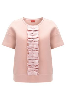 Oversize-fit T-shirt with ruffle tape detail, light pink