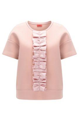 T-shirt in een oversized-fit met lintruche, Lichtroze