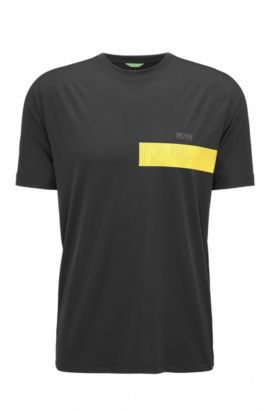 Slim-Fit T-Shirt aus Material-Mix, Schwarz