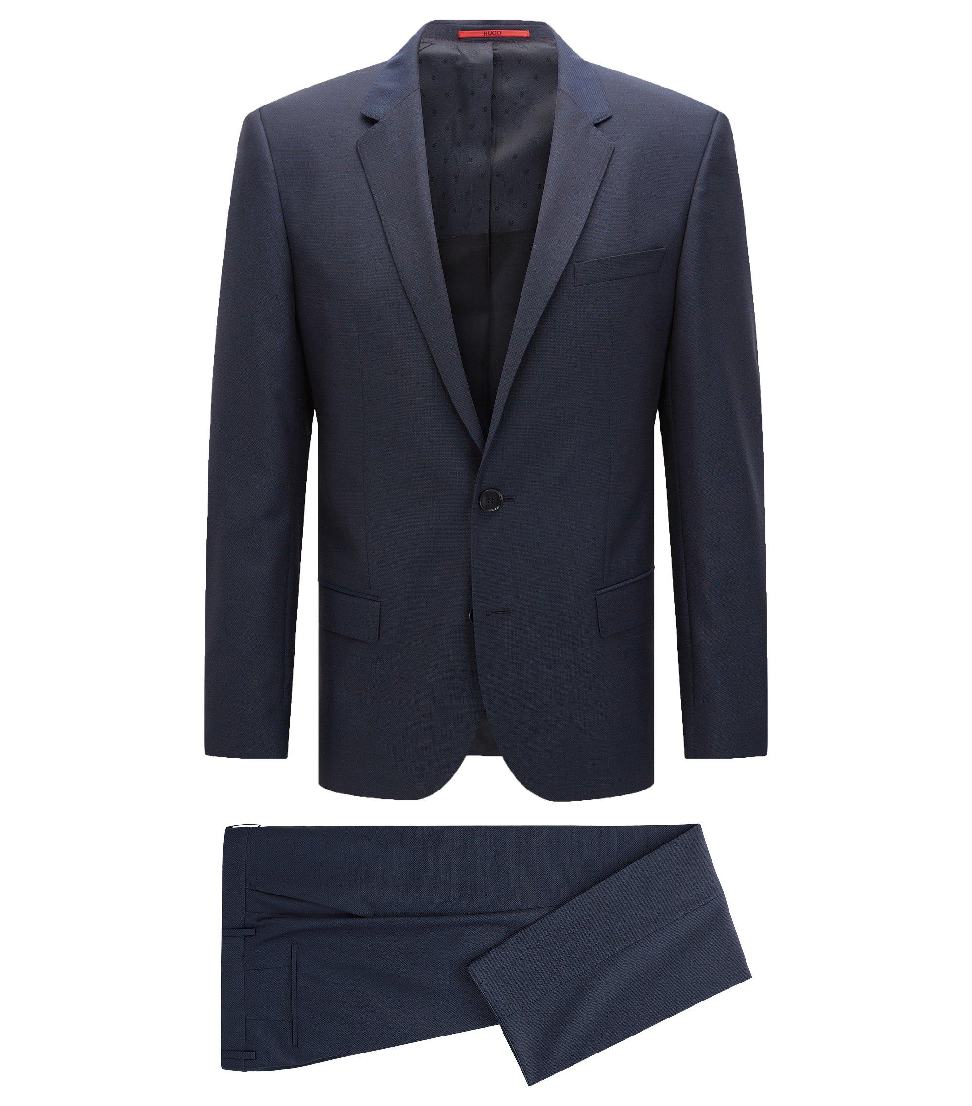Slim-fit kostuum van een gestructureerde scheerwolmix, Donkerblauw