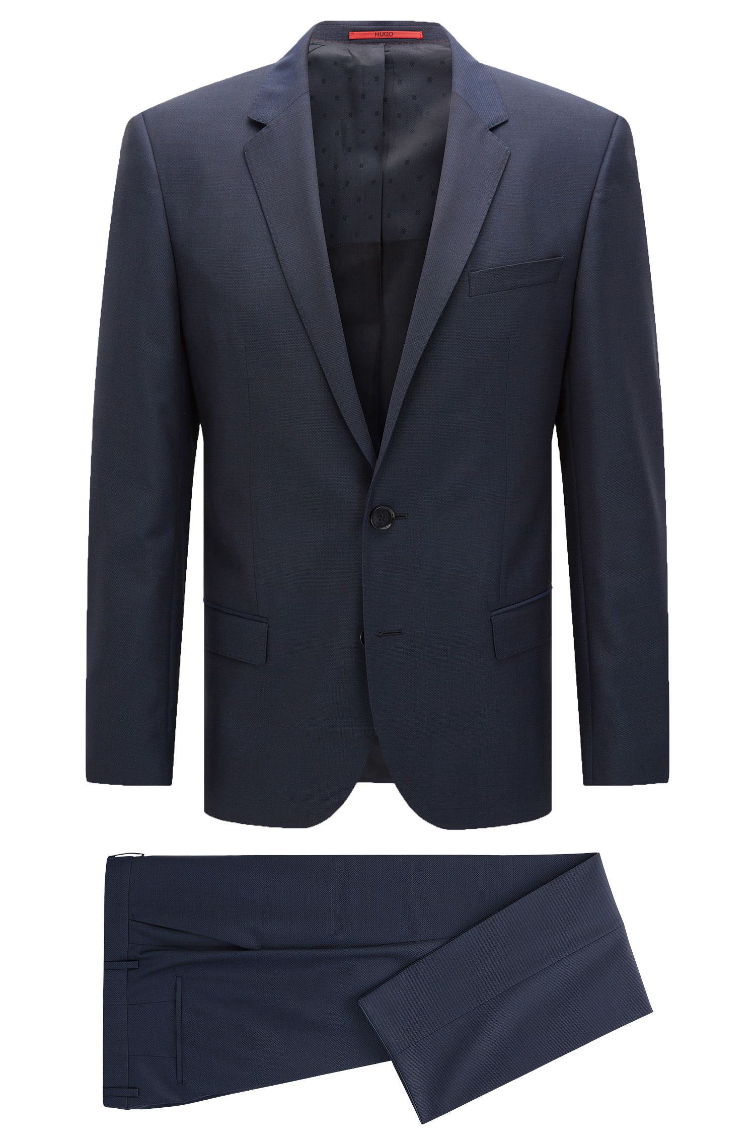 Slim-fit suit in textured virgin wool