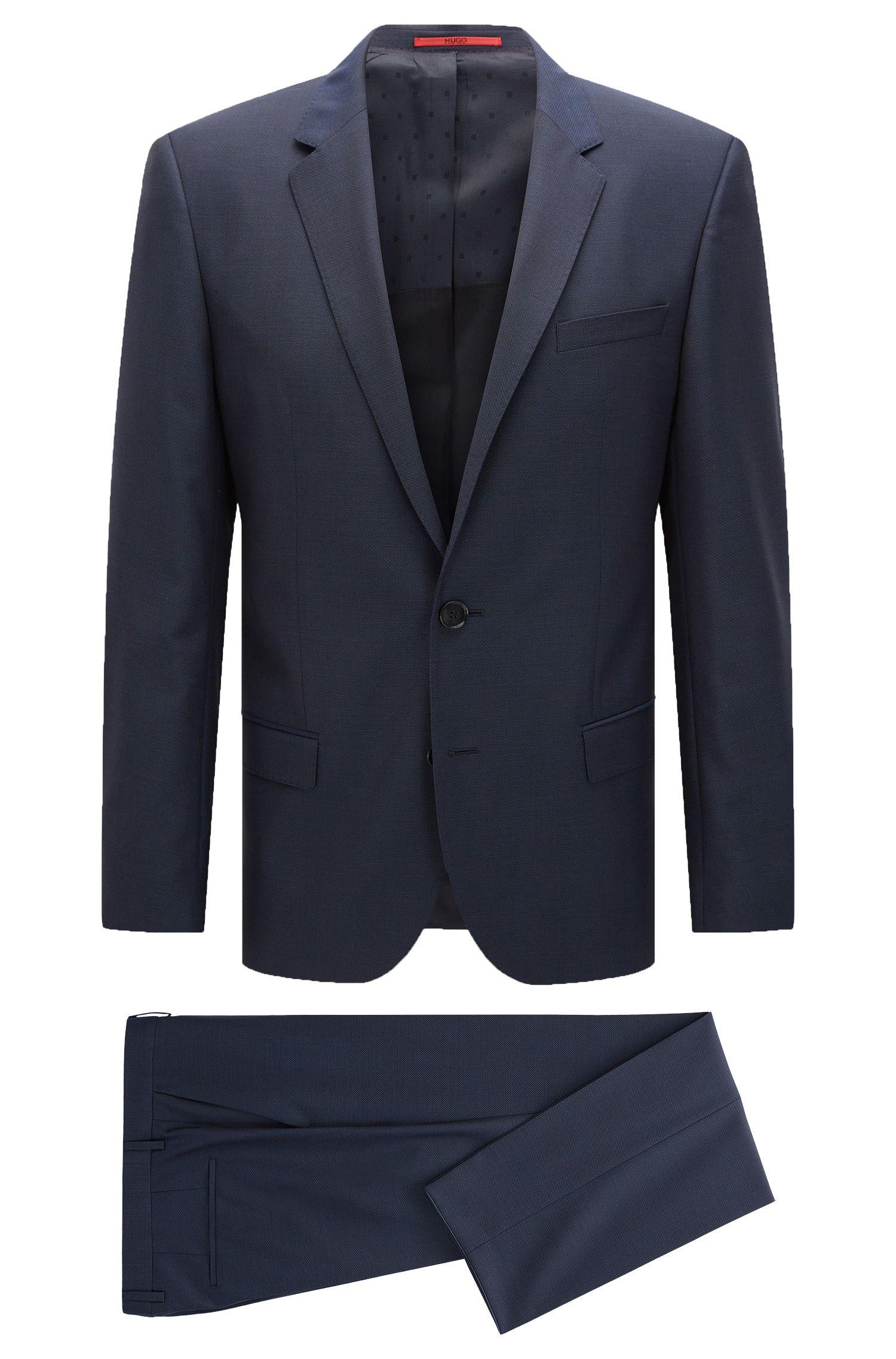 Slim-fit kostuum van een gestructureerde scheerwolmix