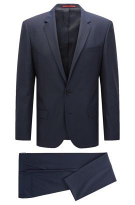 Slim-fit suit in textured virgin wool, Open Blue