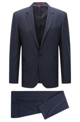 Slim-Fit-Anzug aus strukturierter Schurwolle, Dunkelblau