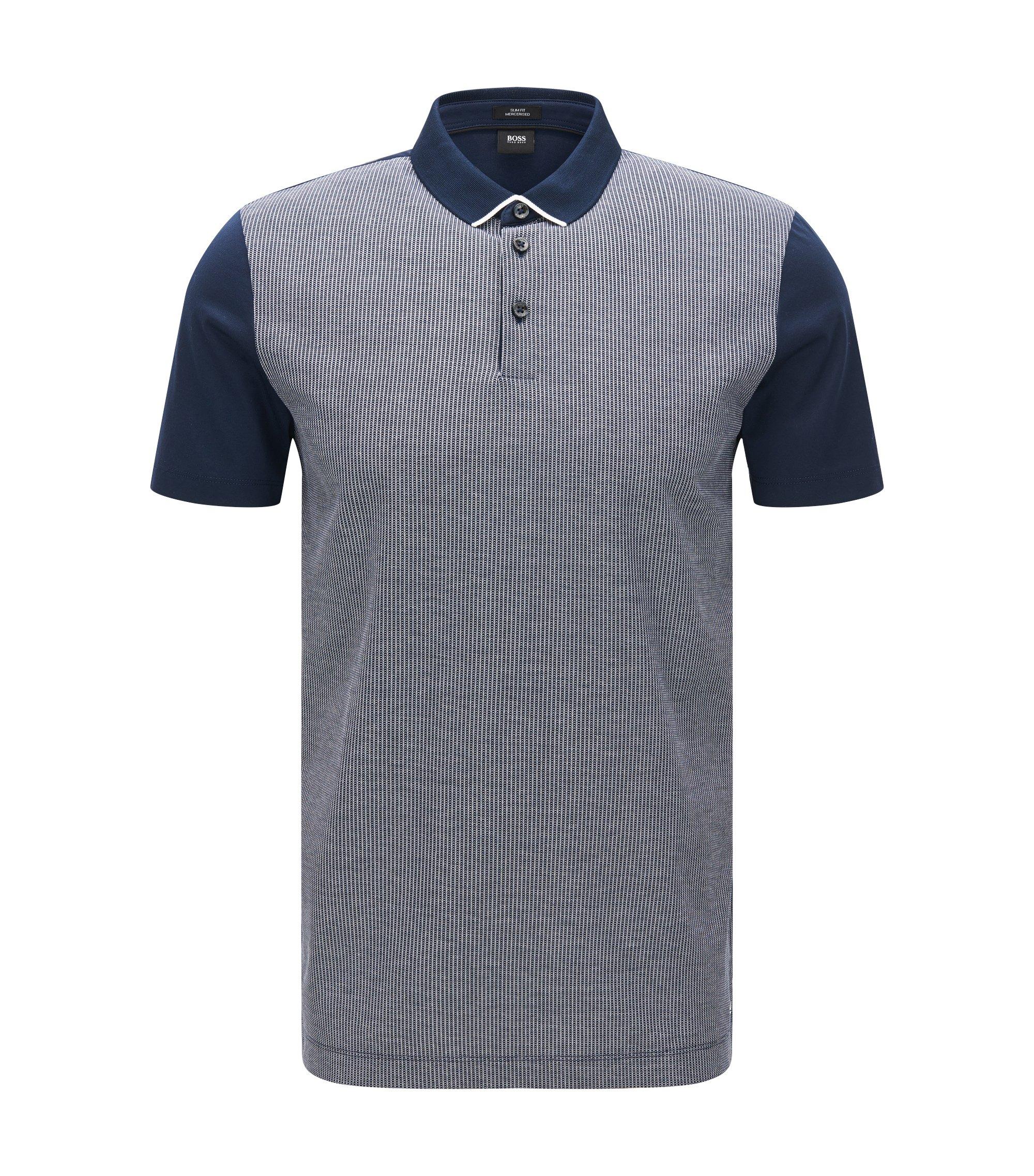 Polo Slim Fit avec devant en jacquard bicolore, Bleu foncé