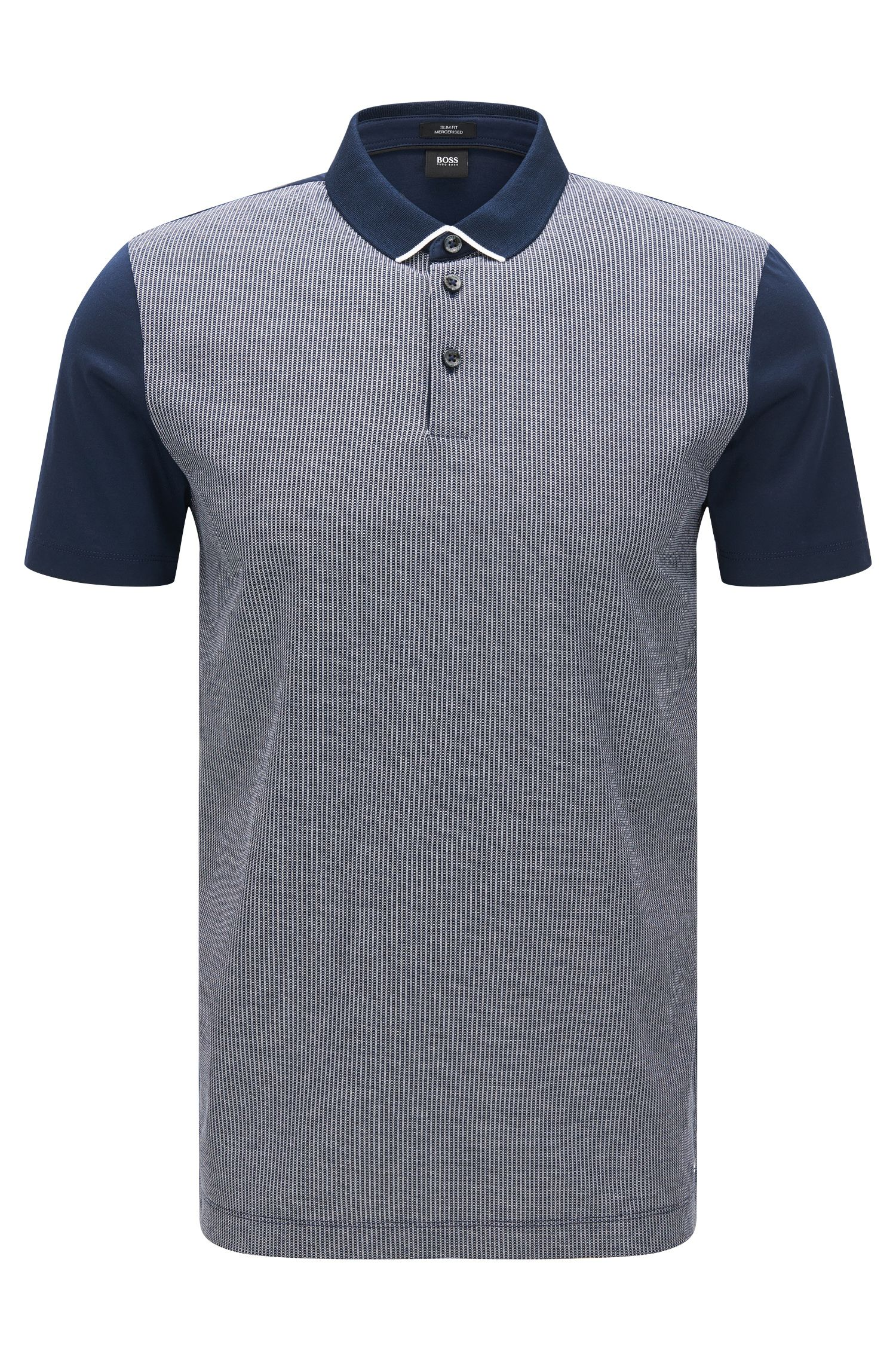 Slim-fit polo shirt with two-tone jacquard front