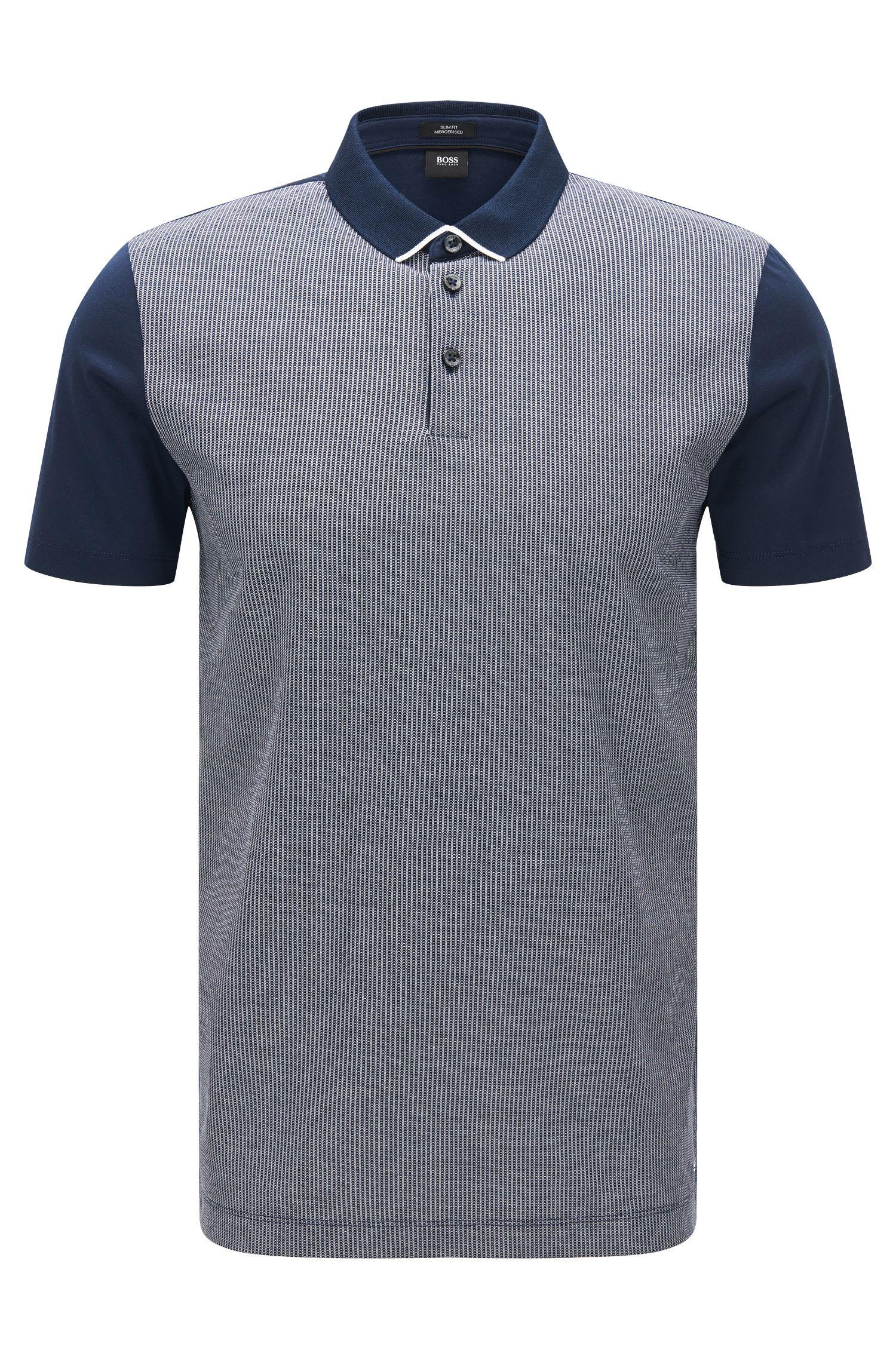 Slim-Fit Poloshirt mit zweifarbiger Jacquard-Vorderseite