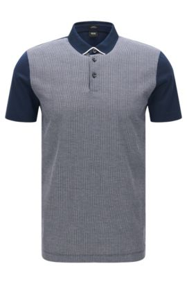 Polo slim fit con parte anteriore in jacquard, Blu scuro