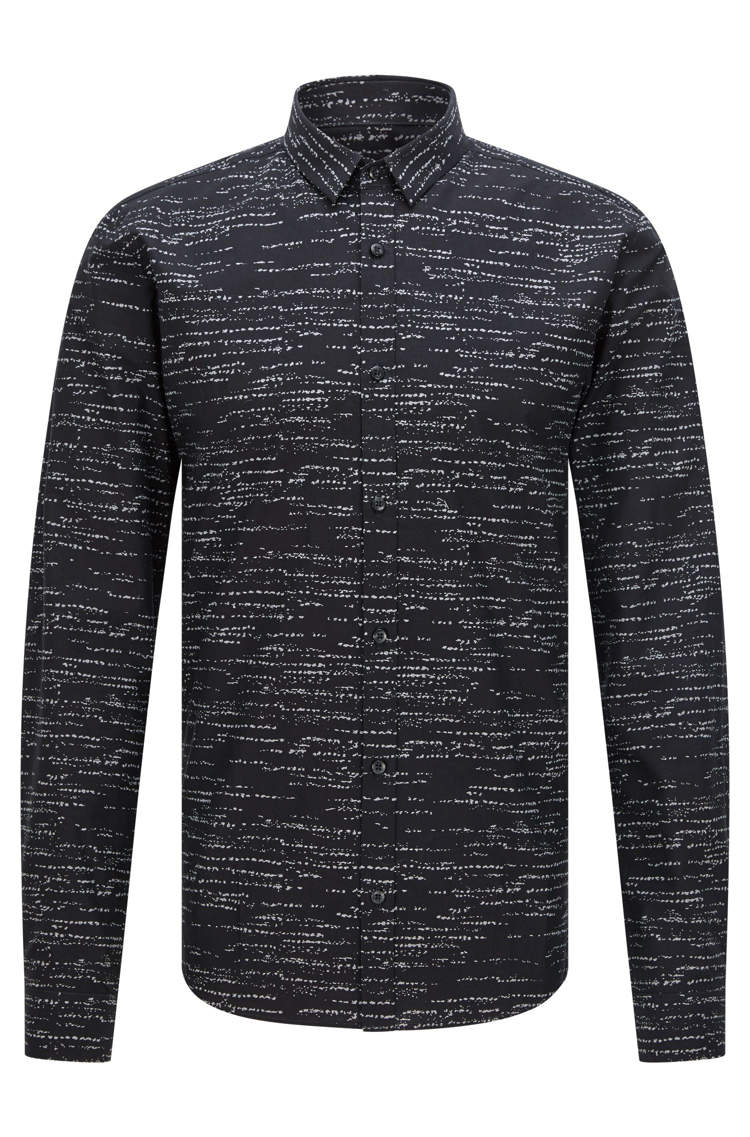 Slim-fit shirt with weave-effect print