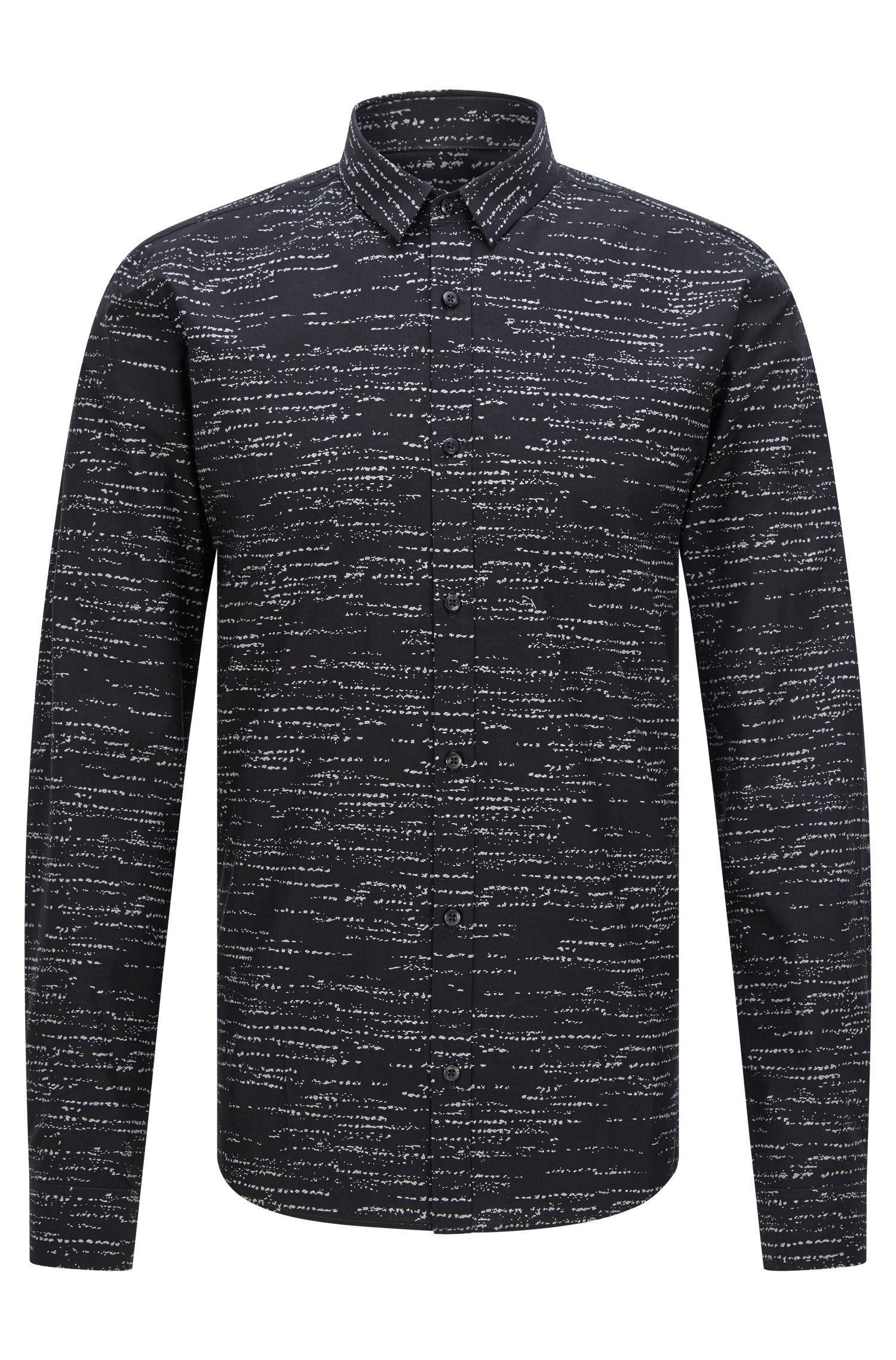 Camicia slim fit con stampa a effetto ondulato
