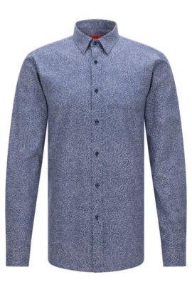 Camicia slim fit con microstampa stagionale, Blu scuro