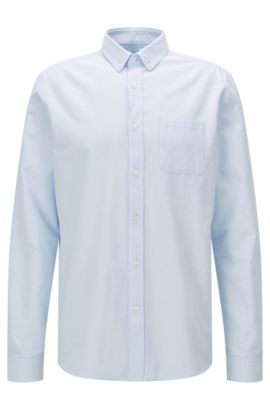 Relaxed-fit Oxford shirt in washed cotton, Light Blue