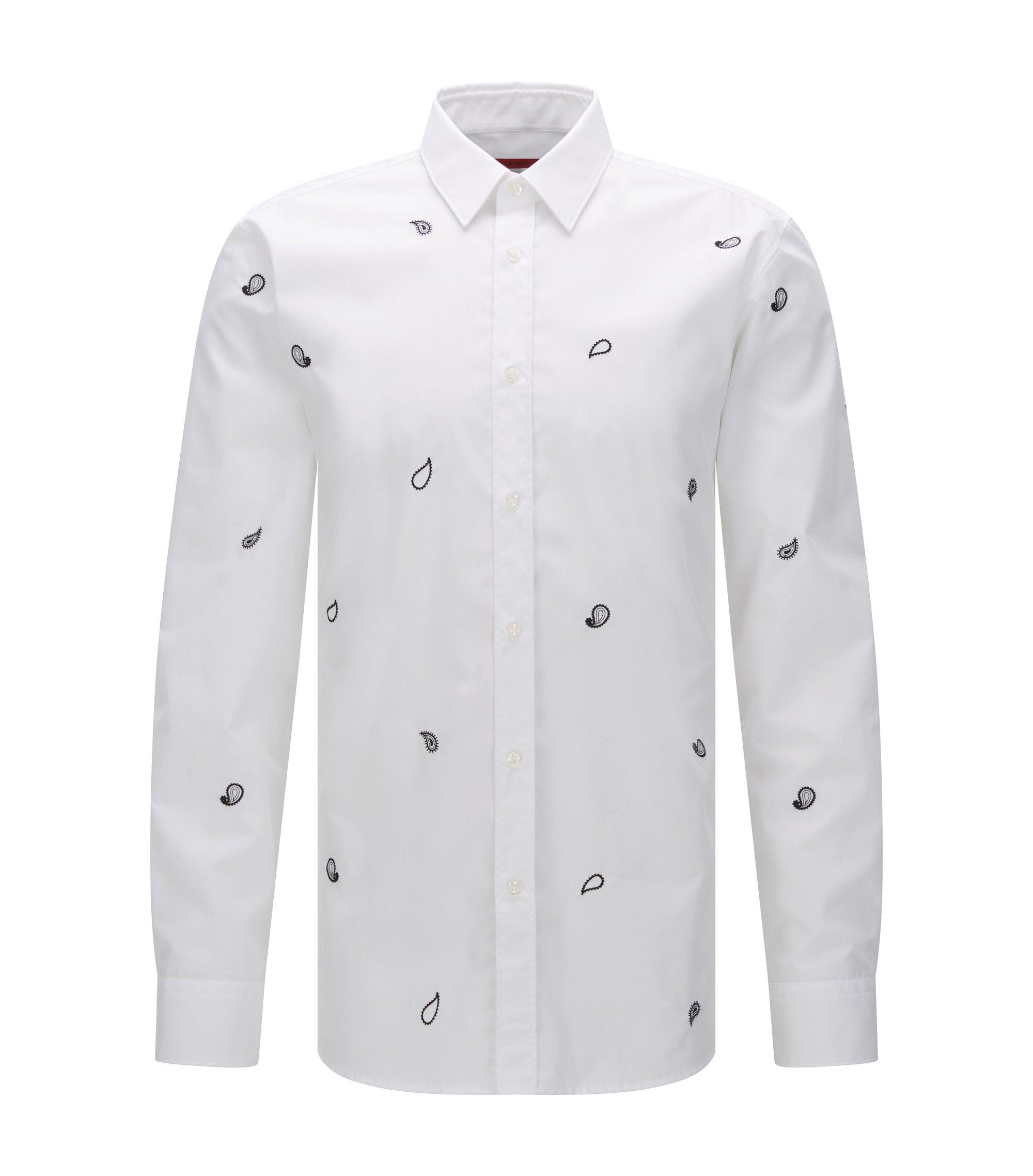 Slim-Fit Hemd aus Baumwolle mit Paisley-Muster, Weiß